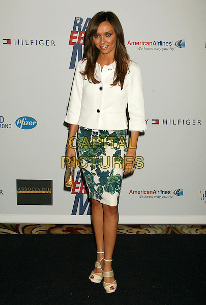 "GIULIANA DEPANDI.14th Annual Race to Erase MS Themed ""Dance to Erase MS"" held at the Century Plaza Hotel, Century City, California, USA, 13 April 2007..full length white jacket green floral printed patterned skirt sandals shoes.CAP/ADM/RE.©Russ Elliot/AdMedia/Capital Pictures."
