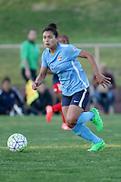Piscataway, NJ, April 24, 2016.  Raquel Rodriguez (11) of Sky Blue FC charges upfield.  The Washington Spirit defeated Sky Blue FC 2-1 during a National Women's Soccer League (NWSL) match at Yurcak Field.