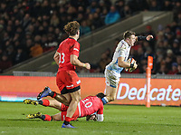 7th February 2020; AJ Bell Stadium, Salford, Lancashire, England; Premiership Cup Rugby, Sale Sharks versus Saracens;  Sam James of Sale Sharks is tackled by Alex Goode of Saracens