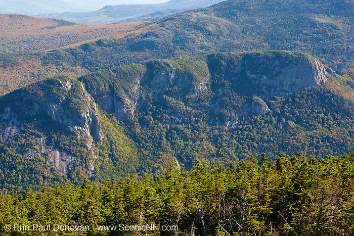 Eagle Cliff from the summit of Cannon Mountain in Franconia Notch of the New Hampshire White Mountains. This cliff was named in 1858 by the Reverend Thomas Hill after he found an eagle's nest high up on the cliff.
