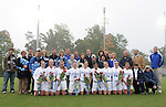 Duke's nine seniors pose with their parents, siblings, and the team's coaches as part of Senior Day. The players (from left) are Lauren Tippets, Katie Roark, Sarah McCabe, Rebecca Moros, Darby Kroyer, Rachel-Rose Cohen, Erin Hathorn, Rebekah Fergusson, and Jenny Alleva. Sunday, October 22nd, 2006 at Koskinen Stadium in Durham, North Carolina. The Duke Blue Devils defeated the Florida State University Seminoles 3-1 in an Atlantic Coast Conference NCAA Division I Women's Soccer game.
