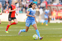 Bridgeview, IL, USA - Saturday, April 23, 2016: Chicago Red Stars forward Christen Press (23) during a regular season National Women's Soccer League match between the Chicago Red Stars and the Western New York Flash at Toyota Park. Chicago won 1-0.
