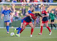 Boyds, MD - April 16, 2016: Washington Spirit player Katie Stengel  (12) and Boston Breakers defender Julie King (8). The Washington Spirit defeated the Boston Breakers 1-0 during their National Women's Soccer League (NWSL) match at the Maryland SoccerPlex.