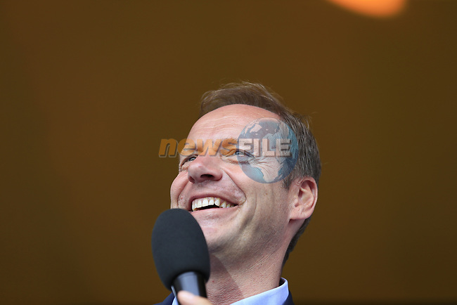Tour Director Christian Prudhomme ASO on stage at the Team Presentation in Burgplatz Dusseldorf before the 104th edition of the Tour de France 2017, Dusseldorf, Germany. 29th June 2017.<br /> Picture: Eoin Clarke | Cyclefile<br /> <br /> <br /> All photos usage must carry mandatory copyright credit (&copy; Cyclefile | Eoin Clarke)