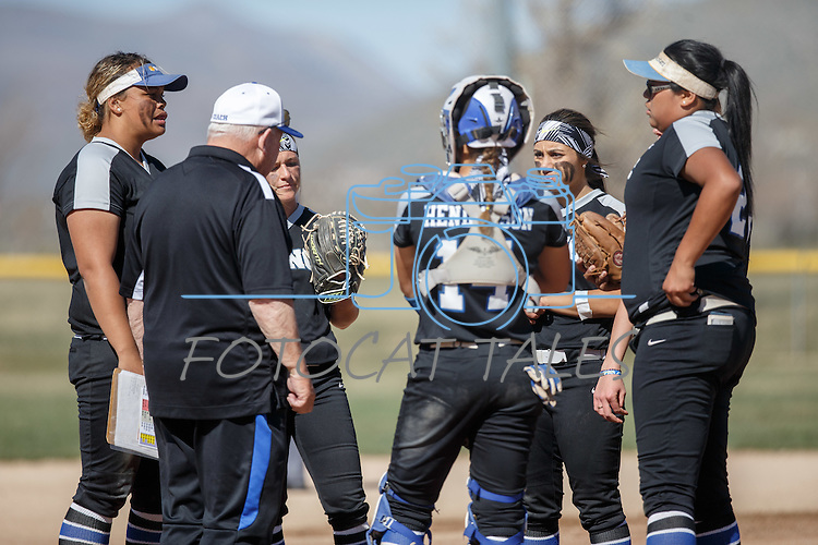 Western Nevada's Assistant Coach Sam Herceg chats with the players during the game against Colorado North Western at Edmonds Sports Complex Carson City, Nev., on Friday, March 18, 2016.<br /> Photo by Jeff Mulvihill, Jr.