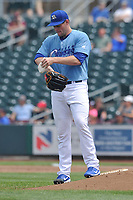 Omaha Storm Chasers starting pitcher Trevor Oaks (34) in action against the Oklahoma City Dodgers at Werner Park on June 24, 2018 in Omaha, Nebraska. Omaha won 8-0.  (Dennis Hubbard/Four Seam Images)