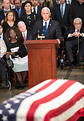United States Vice President Mike Pence makes remarks during the Lying in State ceremony honoring the late US Senator John McCain (Republican of Arizona) in the US Capitol Rotunda in Washington, DC on Friday, August 31, 2018.<br /> Credit: Ron Sachs / CNP<br /> <br /> (RESTRICTION: NO New York or New Jersey Newspapers or newspapers within a 75 mile radius of New York City)