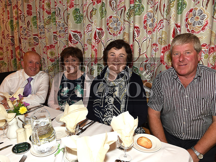Eamon Sweeney, Rita Holcroft, Geraldine and Owen Kirwan pictured at the Daughters of charity dinner in An Grianan. Photo:Colin Bell/pressphotos.ie
