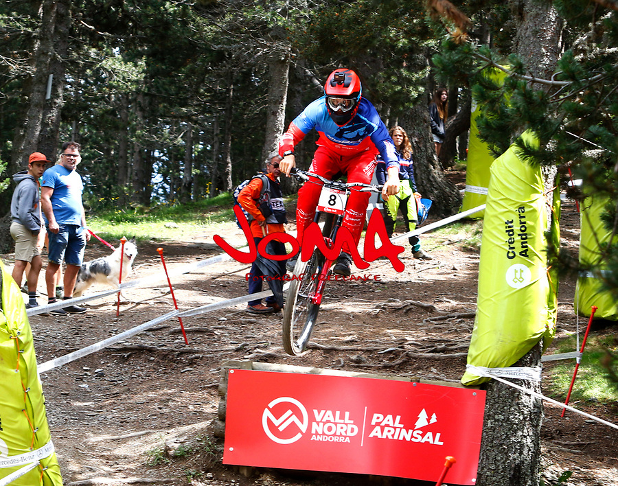 Samuel Blenkinsop (NZL)Downhill training sesion, UCI, Moutain Bike World Cup , Vallnord Andorra. 12/07/2018