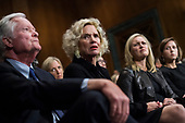UNITED STATES - SEPTEMBER 27: Martha and Edward Kavanaugh listen to their son, Judge Brett Kavanaugh, during the Senate Judiciary Committee hearing on his nomination be an associate justice of the Supreme Court of the United States, focusing on allegations of sexual assault by Kavanaugh against Christine Blasey Ford in the early 1980s. (Photo By Tom Williams/CQ Roll Call)