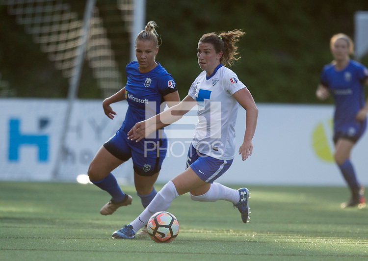 Seattle, WA - Saturday July 15, 2017: Merritt Mathias, Morgan Andrews during a regular season National Women's Soccer League (NWSL) match between the Seattle Reign FC and the Boston Breakers at Memorial Stadium.