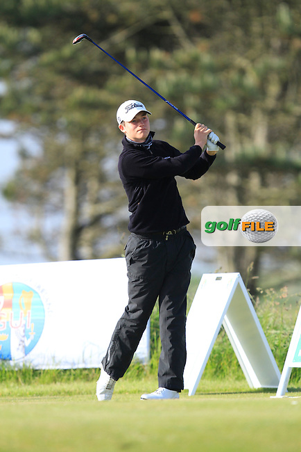 Sean Denny (Castleblayney) on the 1st tee during Round 2 of the Irish Amateur Close Championship at Seapoint Golf Club on Sunday 8th June 2014.<br /> Picture:  Thos Caffrey / www.golffile.ie