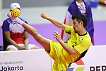 Takeshi Terashima (JPN), <br /> AUGUST 24, 2018 - Sepak takraw : <br /> Men's Doubles Preliminary match between Japan - Philippines<br /> at Jakabaring Sport Center Ranau Hall <br /> during the 2018 Jakarta Palembang Asian Games <br /> in Palembang, Indonesia. <br /> (Photo by Yohei Osada/AFLO SPORT)