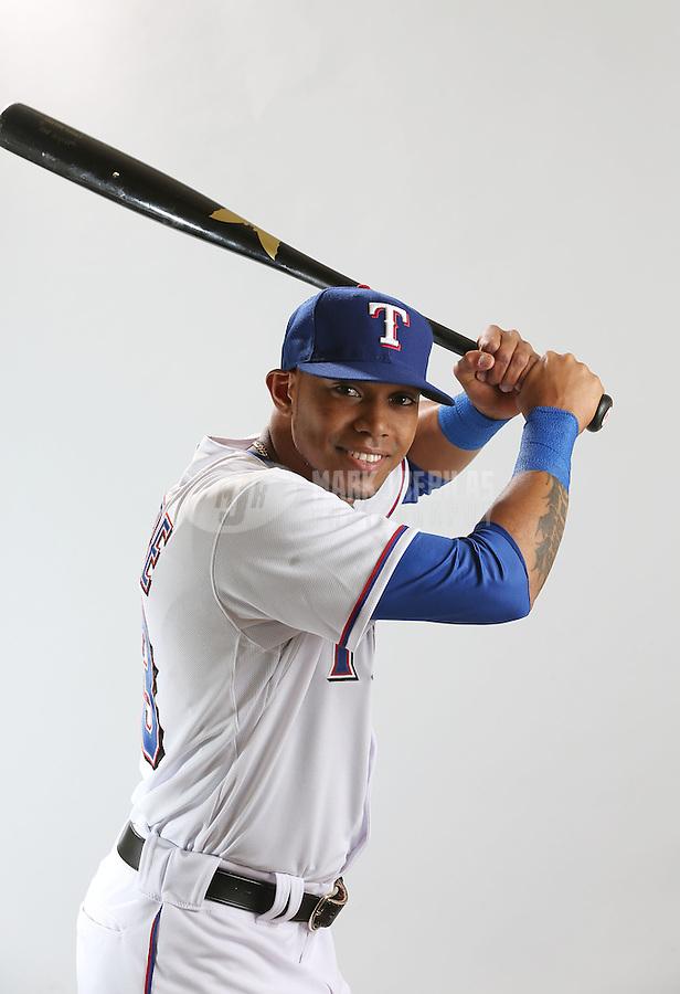 Feb. 20, 2013; Surprise, AZ, USA: Texas Rangers outfielder Engel Beltre poses for a portrait during photo day at Surprise Stadium. Mandatory Credit: Mark J. Rebilas-