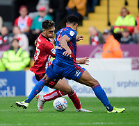 Lincoln City's Tyler Walker vies for possession with Sunderland's Jordan Willis<br /> <br /> Photographer Chris Vaughan/CameraSport<br /> <br /> The EFL Sky Bet League One - Lincoln City v Sunderland - Saturday 5th October 2019 - Sincil Bank - Lincoln<br /> <br /> World Copyright © 2019 CameraSport. All rights reserved. 43 Linden Ave. Countesthorpe. Leicester. England. LE8 5PG - Tel: +44 (0) 116 277 4147 - admin@camerasport.com - www.camerasport.com