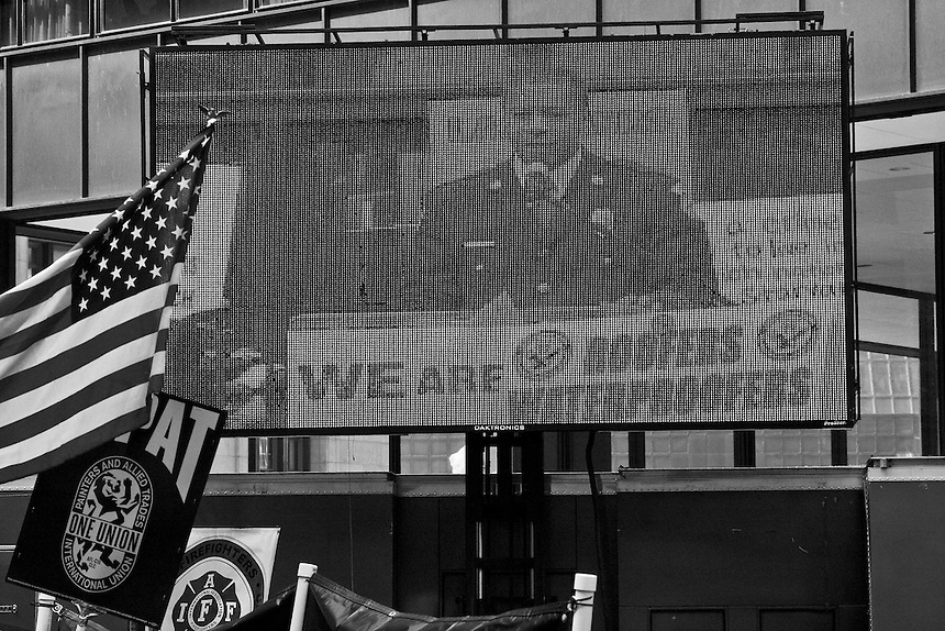Images of a pro-union rally in Chicago, Illinois
