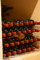 Bottles aging in the cellar. 1961. Chateau Grand Corbin Despagne, Saint Emilion Bordeaux France