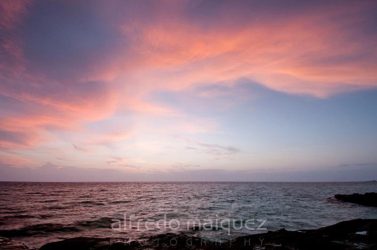Sunrise from the beach at  Isla Pacheca shore. Las Perlas Archipelago, Panama Province, Panama, Central America.