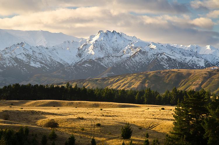 Mount Gold, evening light, Lake Wanaka, New Zealand - stock photo, canvas, fine art print