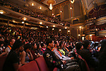 """Students during a Q & A before The Rockefeller Foundation and The Gilder Lehrman Institute of American History sponsored High School student #EduHam matinee performance of """"Hamilton"""" at the Richard Rodgers Theatre on 5/10/2017 in New York City."""