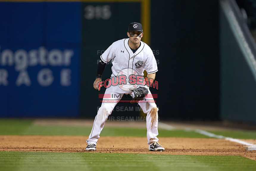 Matt Williams (48) of the South Carolina Gamecocks on defense against the North Carolina Tar Heels at BB&T BallPark on April 3, 2018 in Charlotte, North Carolina. The Tar Heels defeated the Gamecocks 11-3. (Brian Westerholt/Four Seam Images)