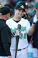 June 16th 2008:  Jonathan Greene of the Clinton Lumberkings, Class-A affiliate of the Texas Rangers, during the Midwest League All-Star Home Run Derby at Dow Diamond in Midland, MI.  Photo by:  Mike Janes/Four Seam Images