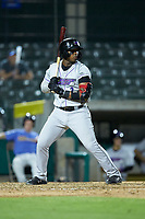 Yeyson Yrizarri (2) of the Winston-Salem Dash at bat against the Myrtle Beach Pelicans at TicketReturn.com Field on May 16, 2019 in Myrtle Beach, South Carolina. The Dash defeated the Pelicans 6-0. (Brian Westerholt/Four Seam Images)