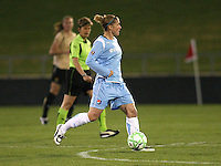Sky Blue midfielder, Jen Buczkowski (4) looks to pass the ball in Sky Blue's game against FC Gold Pride.  Sky Blue FC and FC Gold Pride battled to a 1-1 draw in Bridgewater, NJ on Saturday, April 11, 2009.