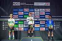 Picture by Alex Whitehead/SWpix.com - 25/09/2018 - Cycling - UCI 2018 Road World Championships - Innsbruck-Tirol, Austria - Junior Men's Individual Time Trial - Remco Evenepoel of Belgium wins Gold. Silver - Lucas Plapp of Australia, Bronze - Andrea Piccolo of Italy.