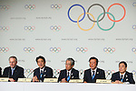 (L to R) <br />  Jacques Rogge, <br />  Shinzo Abe, <br /> Tsunekazu Takeda, <br />  Naoki Inose, <br /> Masato Mizuno, <br /> SEPTEMBER 7, 2013 : <br /> A press conference after Tokyo was announced as the winning city bid for the 2020 Summer Olympic Games at the 125th International Olympic Committee (IOC) session in Buenos Aires Argentina, on Saturday September 7, 2013. (Photo by YUTAKA/AFLO SPORT)