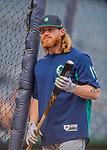 23 May 2017: Seattle Mariners outfielder Ben Gamel awaits his turn in the batting cage prior to facing the Washington Nationals at Nationals Park in Washington, DC. The Nationals defeated the Mariners 10-1 to take the first game of their inter-league series. Mandatory Credit: Ed Wolfstein Photo *** RAW (NEF) Image File Available ***