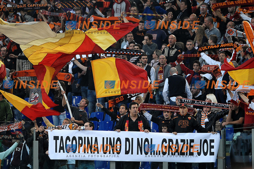 """Striscione per Joe TACOPINA.Roma 29/10/2011 Stadio """"Olimpico"""".Football Calcio Serie A 2011/2012 .Roma Vs Milan.Foto Insidefoto Andrea Staccioli"""