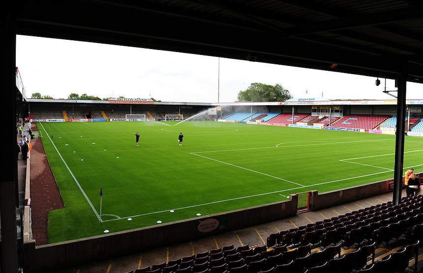 A general view of Glanford Park, home of Scunthorpe United<br /> <br /> Photographer Chris Vaughan/CameraSport<br /> <br /> Football - Capital One Cup First Round - Scunthorpe United v Barnsley - Tuesday 11th August 2015 - Glanford Park - Scunthorpe<br />  <br /> &copy; CameraSport - 43 Linden Ave. Countesthorpe. Leicester. England. LE8 5PG - Tel: +44 (0) 116 277 4147 - admin@camerasport.com - www.camerasport.com