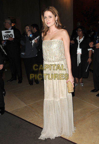 JENNA FISCHER.Leaving the 67th Golden Globes held at The Beverly Hilton Hotel in Beverly Hills, California, USA..January 17th, 2010 .departures full length silver gold beads beaded dress strapless maxi .CAP/DVS.©Debbie VanStory/Capital Pictures