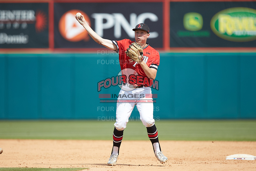 Northeastern Huskies second baseman Ian Fair (7) makes a throw to first base against the North Carolina State Wolfpack at Doak Field at Dail Park on June 2, 2018 in Raleigh, North Carolina. The Wolfpack defeated the Huskies 9-2. (Brian Westerholt/Four Seam Images)