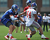 Nate Solder #76, left, and Olivier Vernon #54 of the New York Giants battle near the line of scrimmage during training camp at Quest Diagnostics Training Center in East Rutherford, NJ on Friday, Aug. 3, 2018.