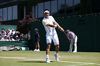 Kei Nishikori (JPN) in action during his match against Christian Harrison (USA)<br /> <br /> Photographer Rob Newell/CameraSport<br /> <br /> Wimbledon Lawn Tennis Championships - Day 2 - Tuesday 3rd July 2018 -  All England Lawn Tennis and Croquet Club - Wimbledon - London - England<br /> <br /> World Copyright &not;&copy; 2017 CameraSport. All rights reserved. 43 Linden Ave. Countesthorpe. Leicester. England. LE8 5PG - Tel: +44 (0) 116 277 4147 - admin@camerasport.com - www.camerasport.com