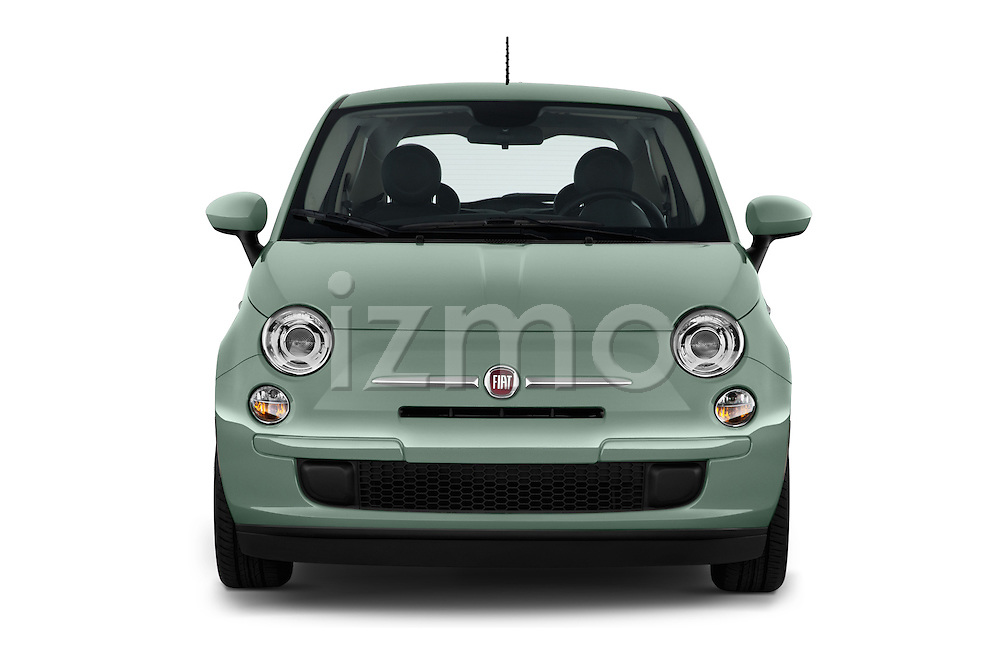 Car photography straight front view of a 2015 Fiat 500 POP 3 Door Hatchback Front View