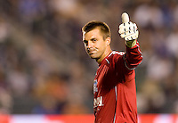 San Jose Earthquakes goalkeeper Jon Busch (18) gives the thumbs up towards the Earthquake fans. The LA Galaxy and the San Jose Earthquakes played to a 2-2 draw at Home Depot Center stadium in Carson, California on Thursday July 22, 2010.
