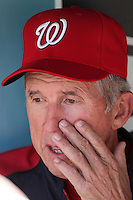 Washington Nationals manager Davey Johnson #5 before a game against the Los Angeles Dodgers at Dodger Stadium on July 23, 2011 in Los Angeles,California. Los Angeles defeated Washington 7-6.(Larry Goren/Four Seam Images)
