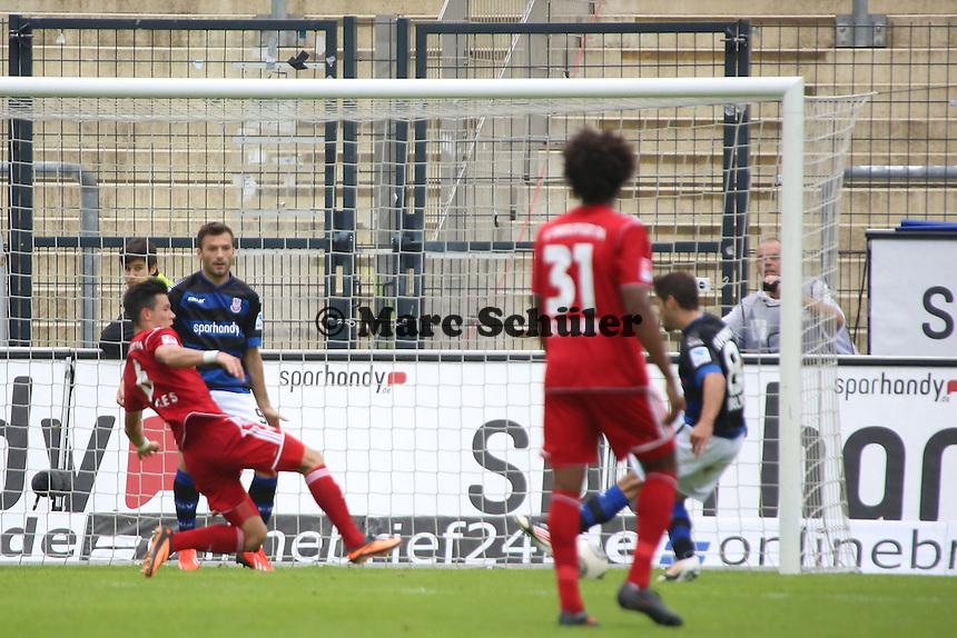 Michael Goerlitz (FSV) erzielt das 2:0 - FSV Frankfurt vs. FC Ingolstadt, 8. Spieltag, Frankfurter Volksbank Stadion