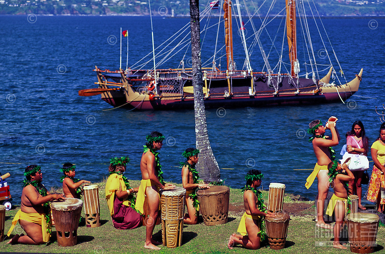 A native Hawaiian ceremony with conch shell and pahu drums honor the departure of the Hokulea, a replica of the ancient Polynesian voyaging canoe.