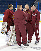 Taylor Nelson (FSU - 29), Bob Daniels (FSU - Head Coach), Drew Famulak (FSU - Associate Head Coach), Dave Cencer (FSU - Strength/Cond/Video Coach) - The Ferris State University Bulldogs practiced on Friday, April 6, 2012, during the 2012 Frozen Four at the Tampa Bay Times Forum in Tampa, Florida.