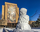 December 10, 2017; A snowman in front of the Word of Life Mural, commonly known as Touchdown Jesus. (Photo by Matt Cashore/University of Notre Dame)