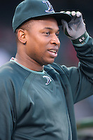 Delmon Young of the Tampa Bay Rays during batting practice before a game from the 2007 season at Angel Stadium in Anaheim, California. (Larry Goren/Four Seam Images)
