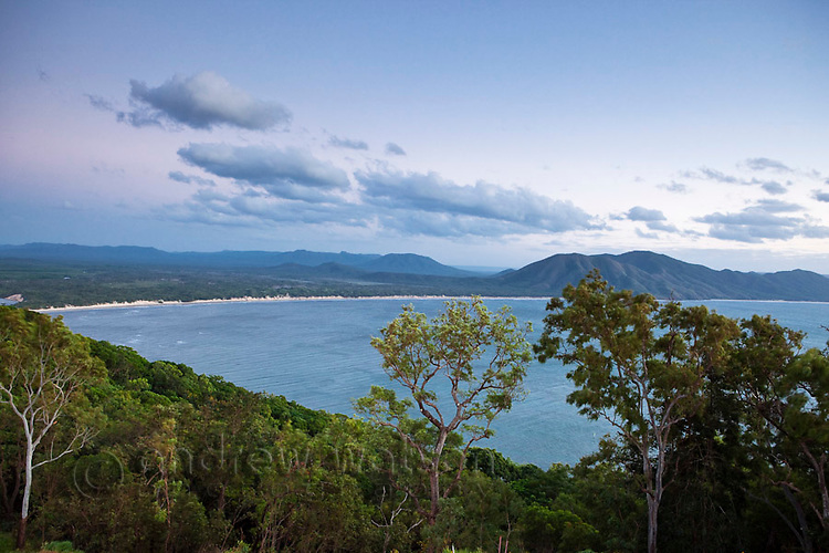 View of Endeavour River National Park and coastline from Grassy Hill.  Cooktown, Queensland, Australia