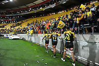 The Hurricanes thank fans after winning the Super Rugby final match between the Hurricanes and Lions at Westpac Stadium, Wellington, New Zealand on Saturday, 6 August 2016. Photo: Dave Lintott / lintottphoto.co.nz