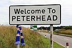 Welcome to Peterhead, Rangers scarf on sign at entrance to the blue toon