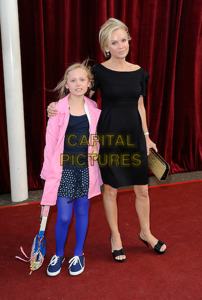 BEAU & LISA MAXWELL.'An Audience with Michael Buble' Red Carpet arrivals at the London ITV Studios, South Bank, London, England..May 3rd 2010.full length black dress blue tights skirt pink jacket daughter mother mom mum family kid child.CAP/FIN.©Steve Finn/Capital Pictures.