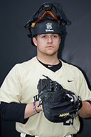 Wake Forest Demon Deacons bullpen catcher Chris Shafer (25) poses for a photo prior to the game against the Liberty Flames at David F. Couch Ballpark on April 25, 2018 in  Winston-Salem, North Carolina.  The Demon Deacons defeated the Flames 8-7.  (Brian Westerholt/Four Seam Images)